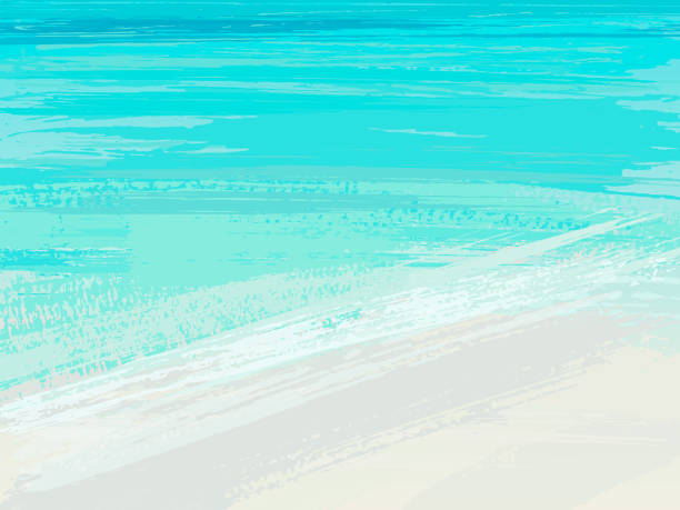 summer sea. background with blue brush stroke. vector illustration. - summer background stock illustrations