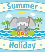 Summer sea background with elephant