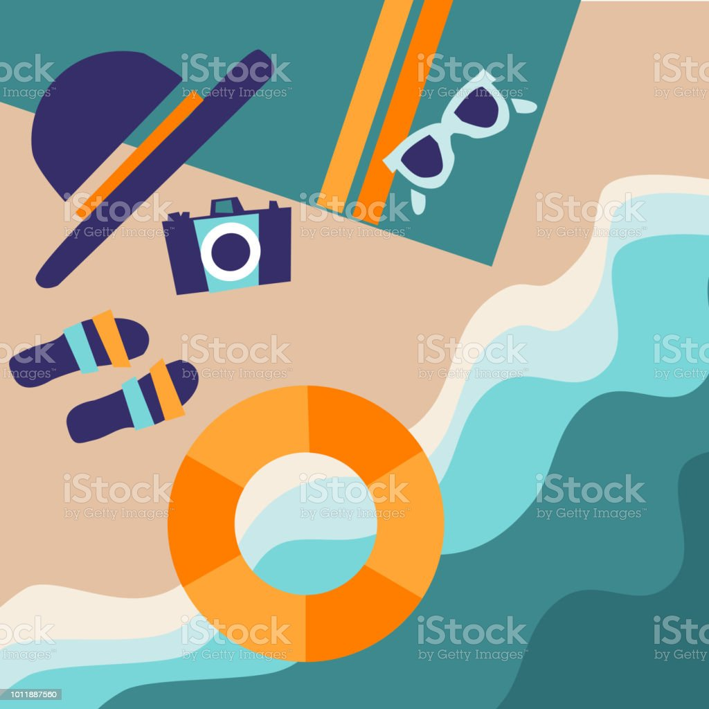 Summer sea beach background. Surf. Green turquoise curve line wave layer background with white space, vector