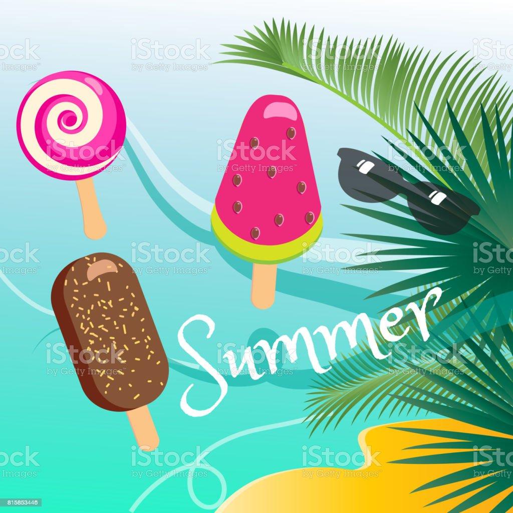 Summer sea beach view vector art illustration