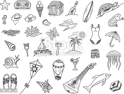 Vector summer sea doodles set. All objects in groups and easy to edit.
