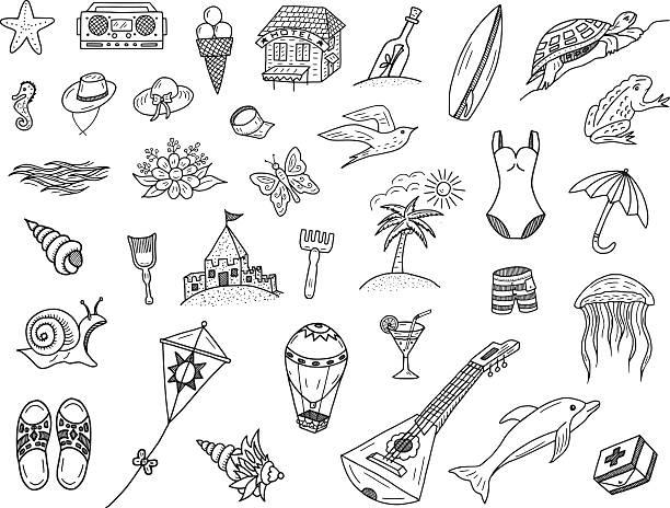 illustrations, cliparts, dessins animés et icônes de été mer et crayonnages - chateau de sable