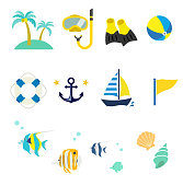 Summer sea icon set