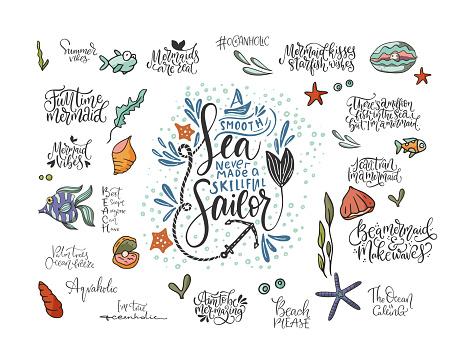 Summer sea lettering vector set.