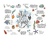 Summer sea lettering big vector set. Ocean quotes and clip art collection. Perfect for t shirt, card print design. Graphic nautical marine theme illustration. Smooth sea never made a skillful sailor