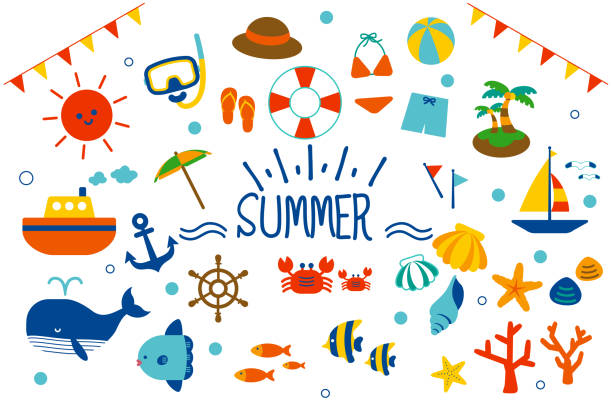 Summer sea material set. Summer sea material set. seyahat noktaları illustrationsları stock illustrations