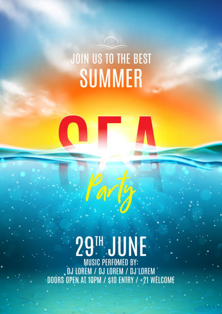 Summer sea party poster Summer sea party poster. Vector illustration with deep underwater ocean scene. Background with realistic clouds and sunset. Invitation to nightclub. undersea stock illustrations