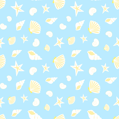 Summer sea seamless pattern of seashells, blue pattern with yellow white seashells, texture or background.