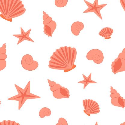 Summer sea seamless pattern of seashells, sea coast simple seamless texture or background.