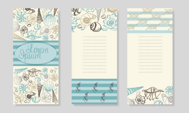 summer sea shells banner design. hand drawn etching style. - stripped pattern stock illustrations, clip art, cartoons, & icons