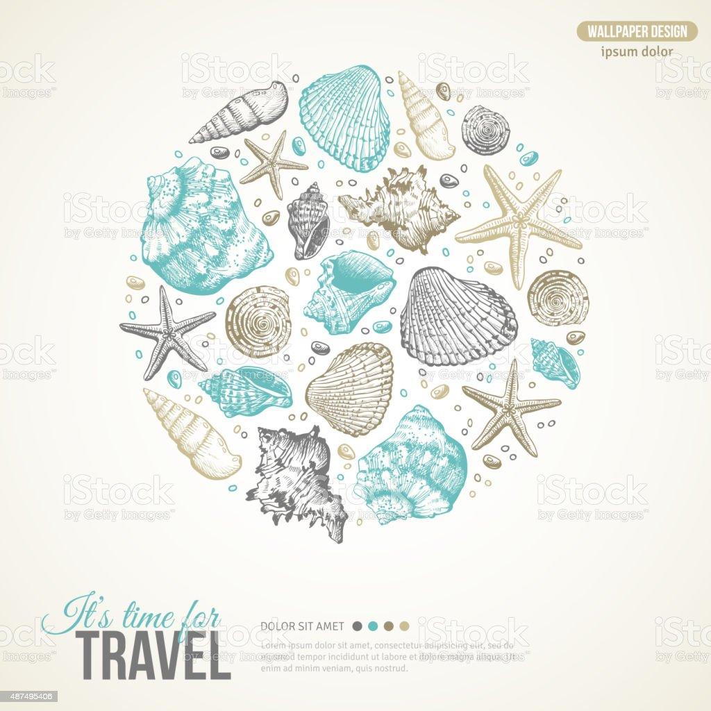 Summer Sea Shells Concept. Vector Background vector art illustration