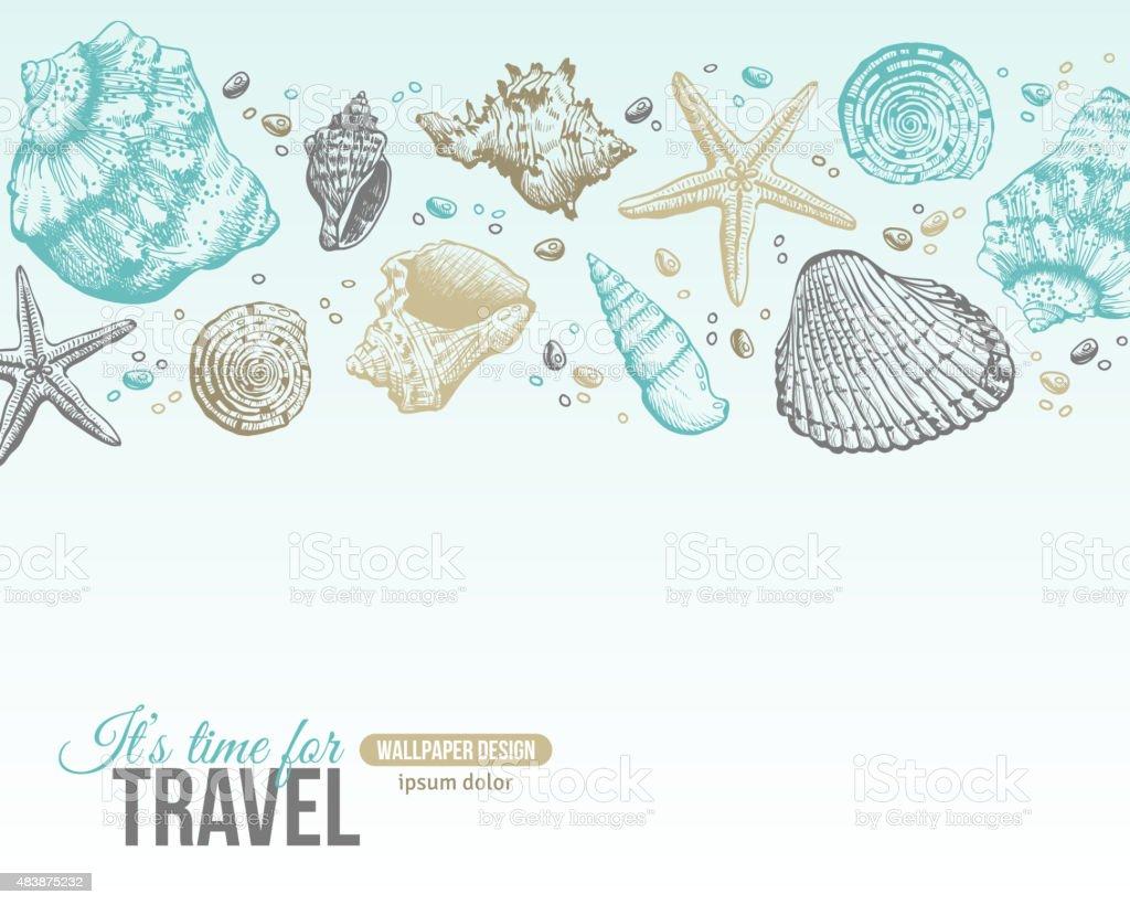Summer Sea Shells Postcard Design. vector art illustration
