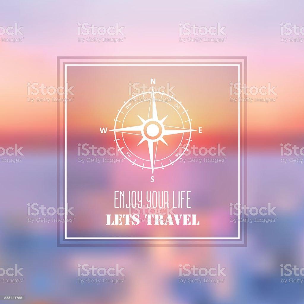 Estate Mare Viaggio Sfondo Astratto Con Rosa Dei Venti Simbolo