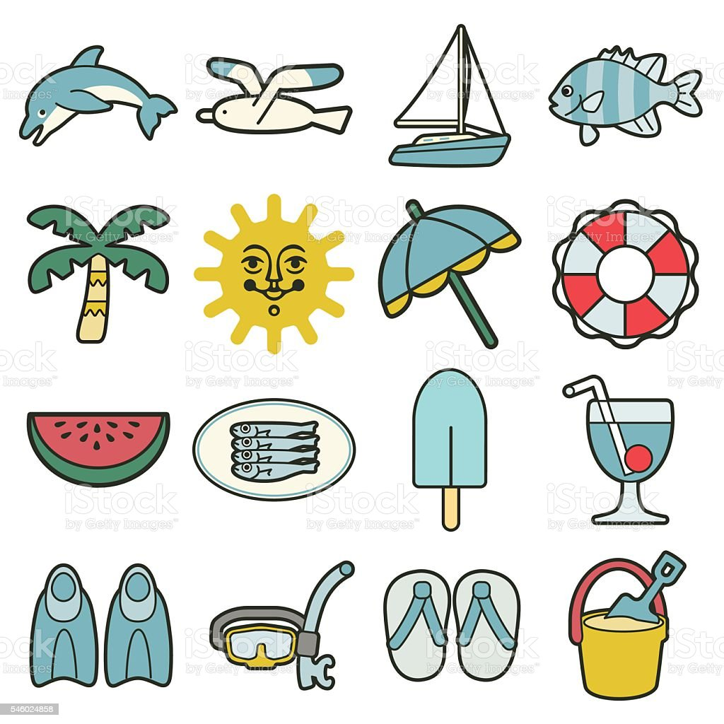 summer sea vacation icons vector art illustration