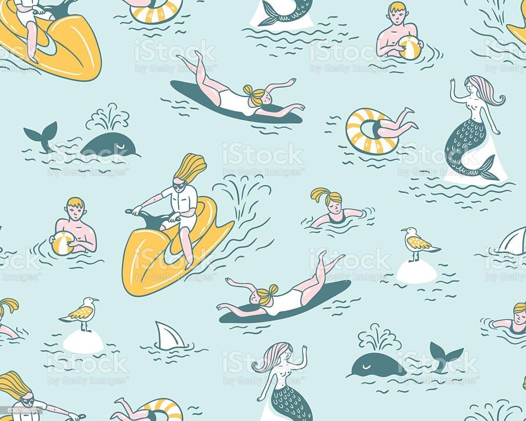 Summer sea vacation illustration. Vector seamless pattern. vector art illustration