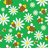 Simple summer seamless background with bees and daisies