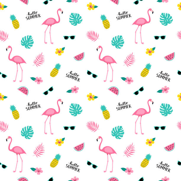 summer seamless cute colorful pattern with flamingo, pineapple, tropical leaves, watermelon, flowers, sunglasses on white background. - flamingo stock illustrations