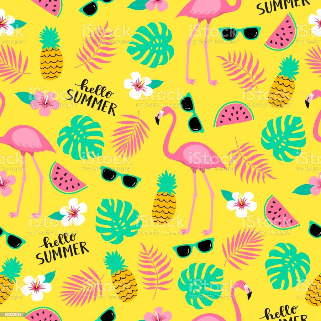 Ilustração de Verão Sem Costura Bonito Padrão Colorido Com Flamingo ... 0f2366487d