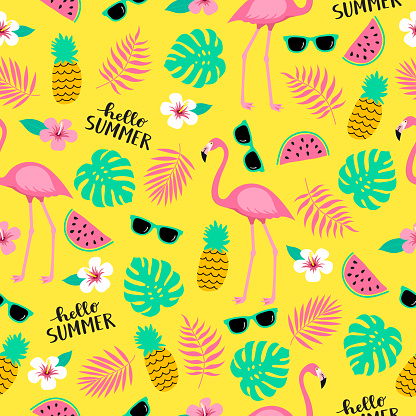 Summer seamless cute colorful pattern with flamingo, pineapple, tropical leaves, watermelon, flowers, sunglasses on yellow background.