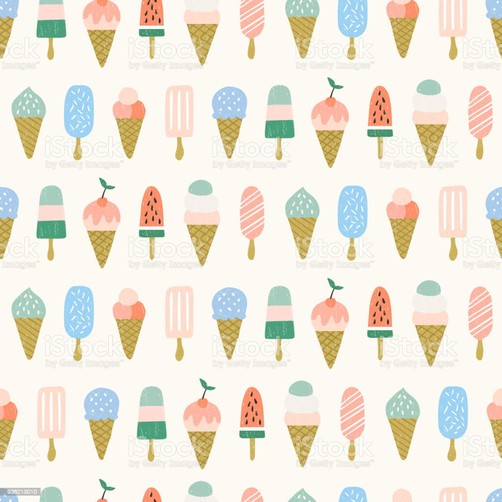 Pattern Cute Colorful Ice Cream Textiles Stock Vector: Summer Seamless Pattern Cute Ice Cream Background Stock