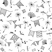 Summer seamless pattern. Doodle dandelion seeds, flags, dragonfly isolated on white background.