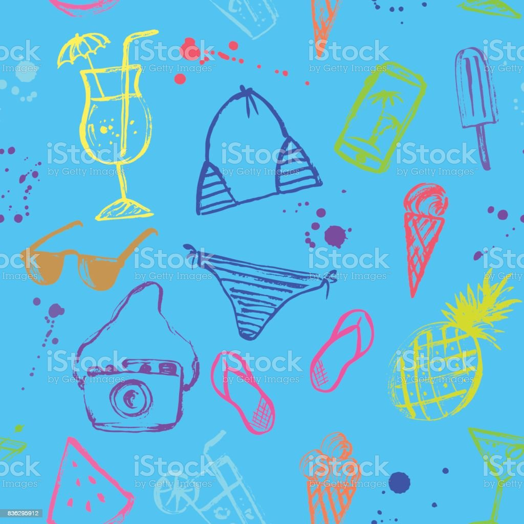 Summer seamless pattern. Ink sketch and stains. vector art illustration
