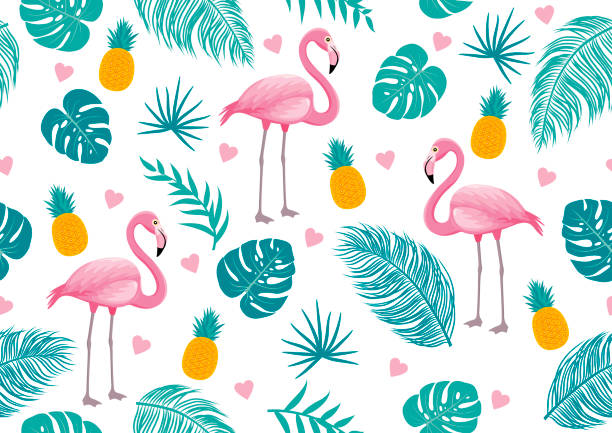 Summer seamless pattern of flamingo and tropical leaves vector illustration Summer seamless pattern of flamingo and tropical leaves vector illustration flamingo stock illustrations