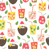 Summer seamless pattern of smoothie and lemonade with fruits. Vector illustration.