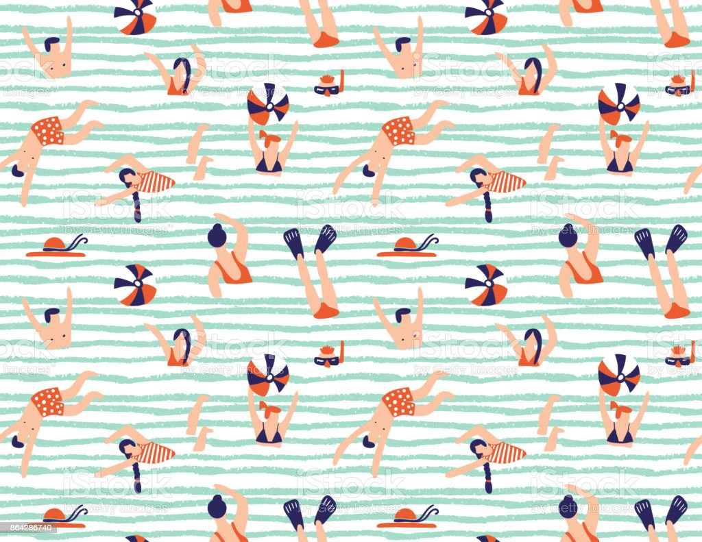Summer seamless pattern. People swimming in the sea. Vector illustration with swimmers. vector art illustration