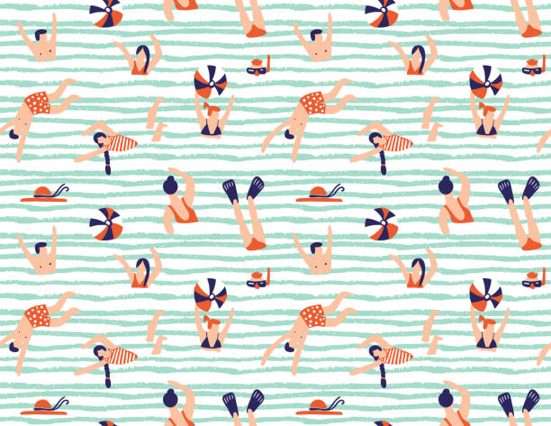 summer seamless pattern. people swimming in the sea. vector illustration with swimmers. - vintage people stock illustrations, clip art, cartoons, & icons