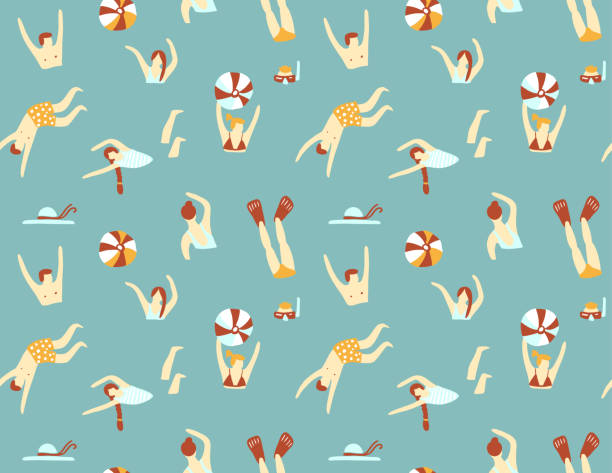 Summer seamless pattern. People swimming in the sea. Vector illustration with swimmers. Summer seamless pattern. People swimming in the sea. Vector illustration with swimmers. diving into water stock illustrations