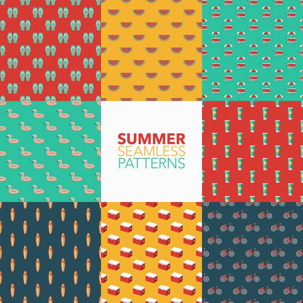 stockillustraties, clipart, cartoons en iconen met zomer naadloze patroon set - sandaal