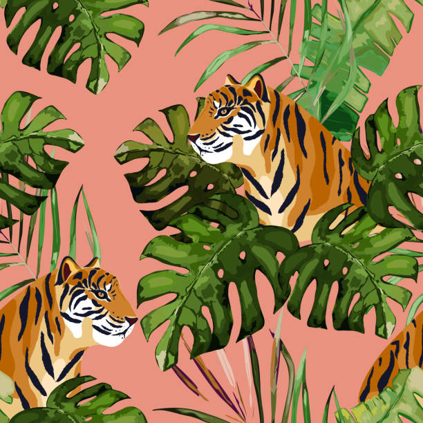 Summer seamless pattern. Tropical print with tiger and palm leaves. Vector illustration Summer seamless pattern. Tropical print with tiger and palm leaves. Vector illustration exotic animals stock illustrations