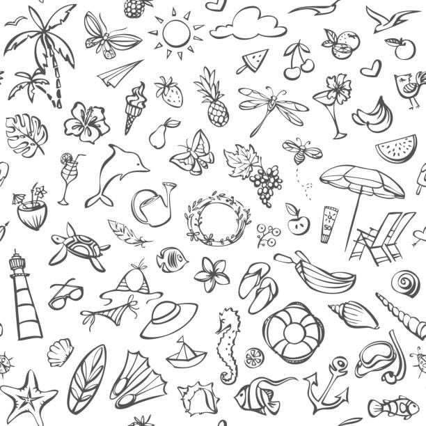 Summer seamless pattern vector art illustration