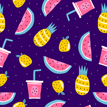 Summer seamless pattern, vector illustration with watermelon, pineapple, orange fruits, and juice. Exotic background wallpaper for textile wrapping and print.