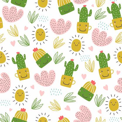 Summer seamless pattern with cactus. Hand drawn botanical with kawaii cartoon emote.