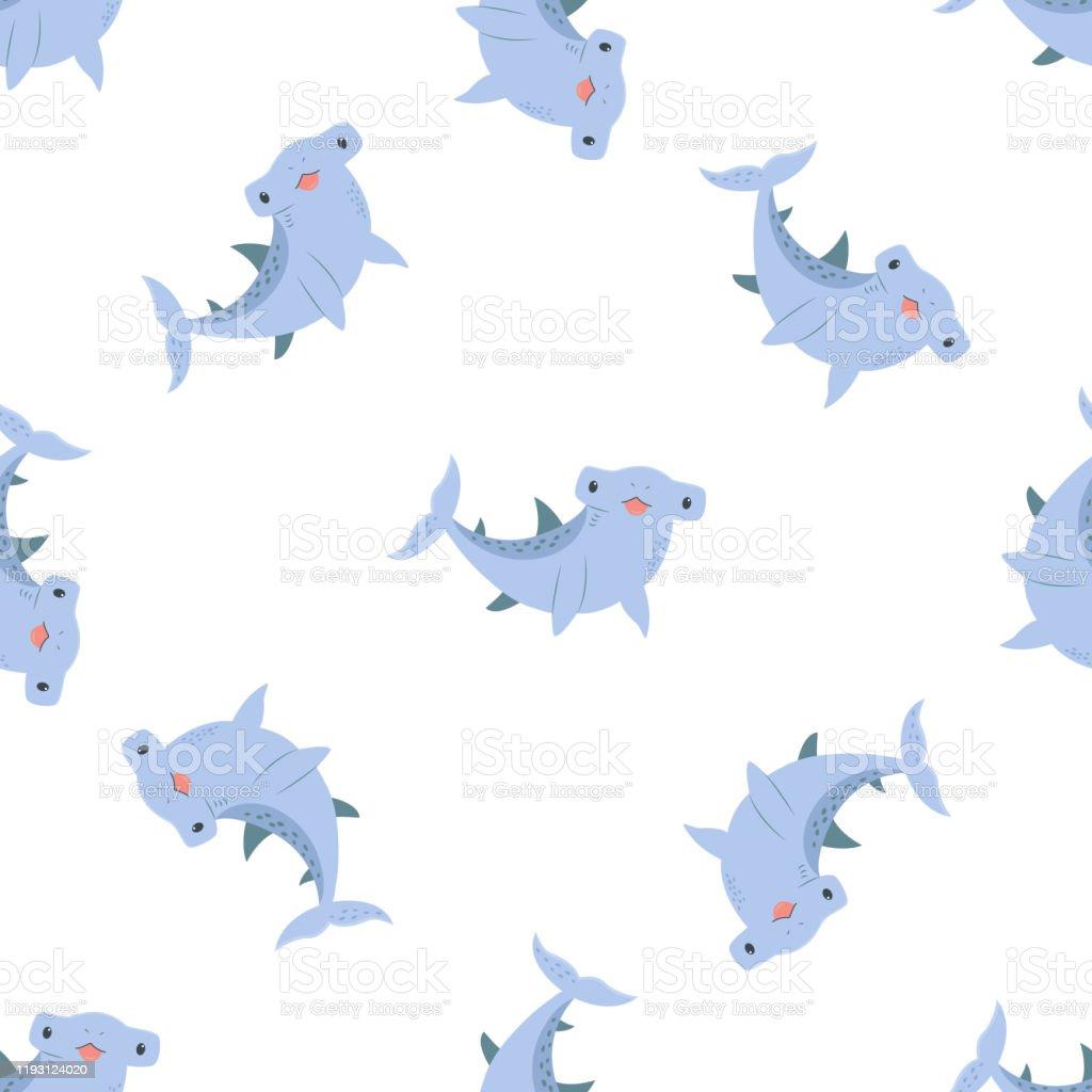 かわいい手描き面白いサメと夏のシームレスなパターン壁紙背景の