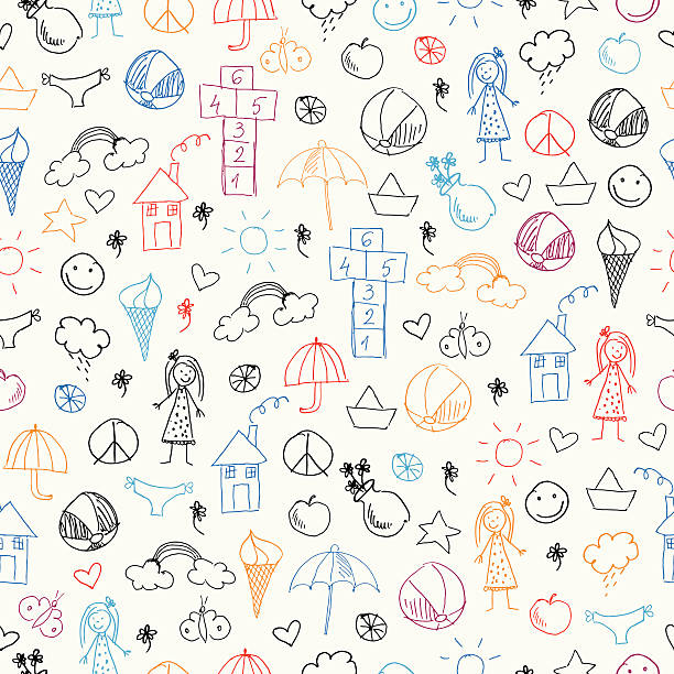 Summer seamless pattern with icons Vector Illustration.EPS10, Ai10, PDF, High-Res JPEG included. baby shower stock illustrations