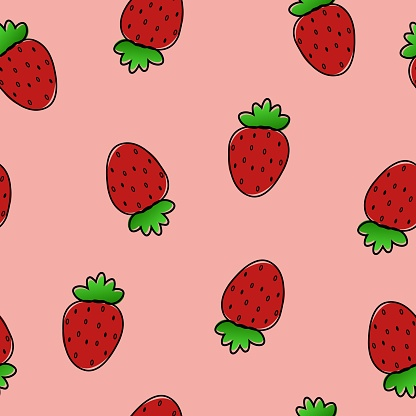 Summer seamless pattern with red little strawberries on pink background. Print for textile, clothes, t-shirts, backgrounds, wrapping.