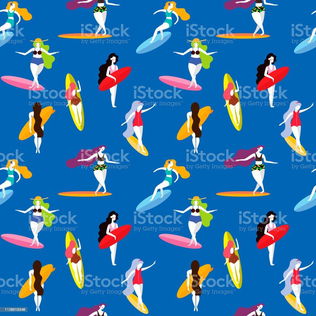 夏サーフボードでサーフィン女の子とシームレスなパターン背景で使用