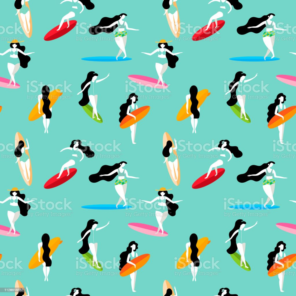Summer Seamless Pattern With Surfing Girls On The Surf