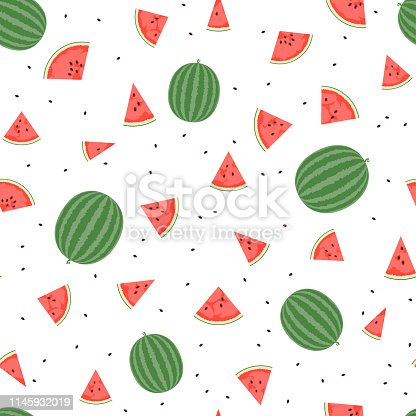 Summer seamless pattern with watermelon slices on a white background. Vector.