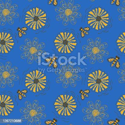 istock Summer seamless simple illustration of flower field. 1267210688