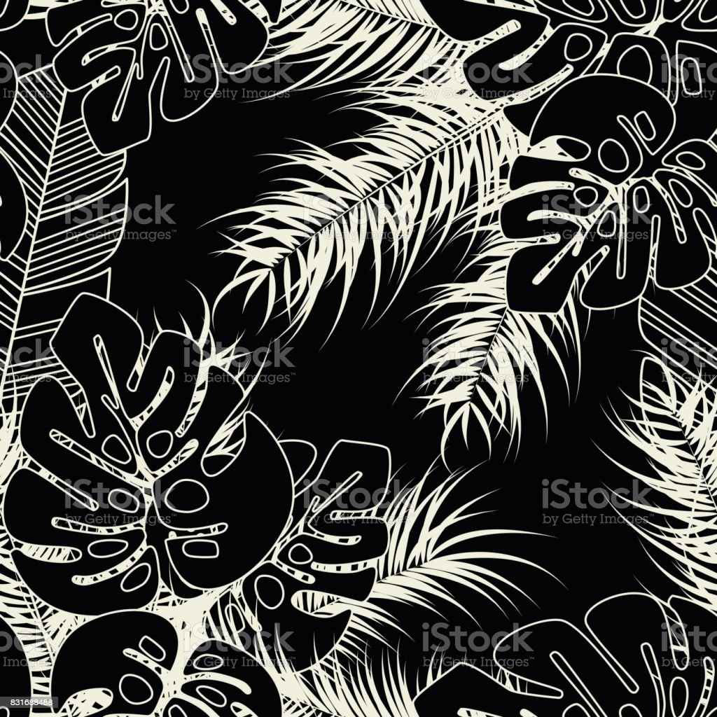 Summer seamless tropical pattern with monstera palm leaves and plants on dark background vector art illustration