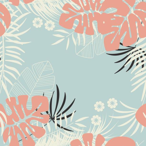 Summer seamless tropical pattern with monstera palm leaves, plants and flowers on blue background, vector illustration vector art illustration