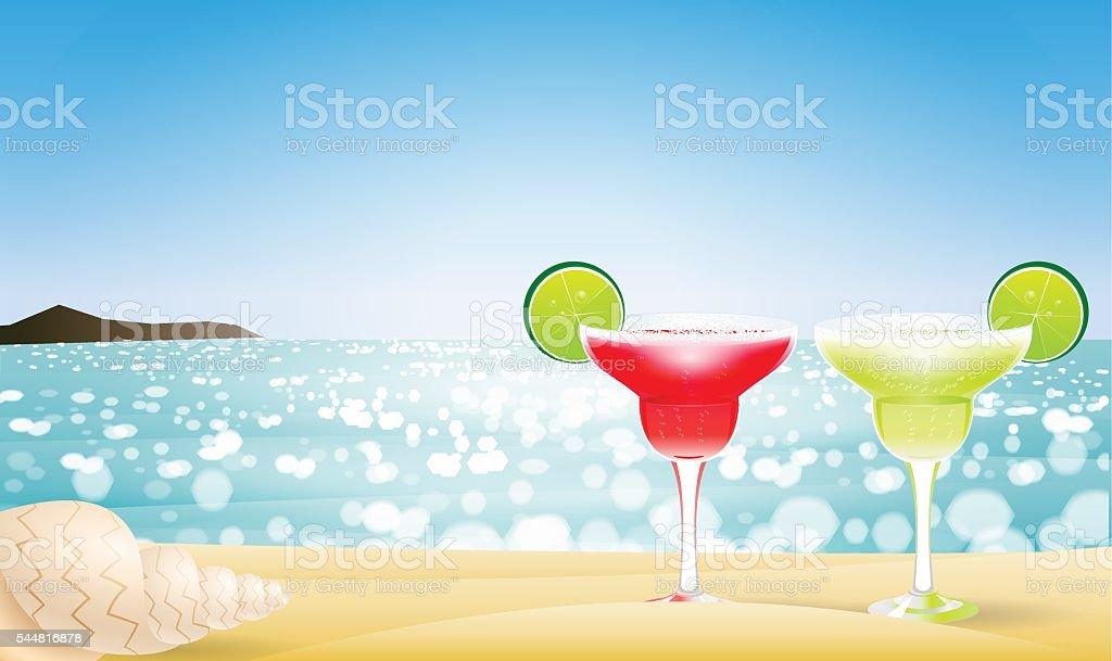 Summer seascape blur bokeh vector art illustration