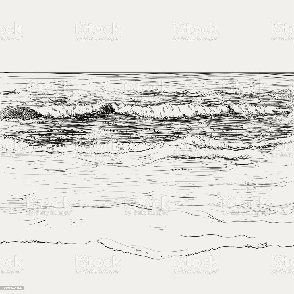 Seascape desenho de verão - ilustração de arte em vetor