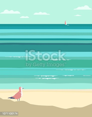 Summer seaside landscape. Vintage pop art style. Yacht sailing in ocean background. Maritime theme for design. Adventure journey, travel vacation vector advertisement template. Sea leisure activity