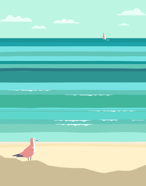 Summer seaside landscape Summer seaside landscape. Vintage pop art style. Yacht sailing in ocean background. Maritime theme for design. Adventure journey, travel vacation vector advertisement template. Sea leisure activity water bird stock illustrations