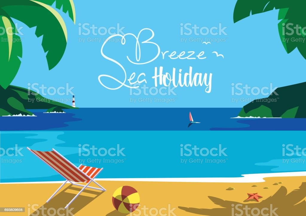 Summer seaside landscape vector art illustration